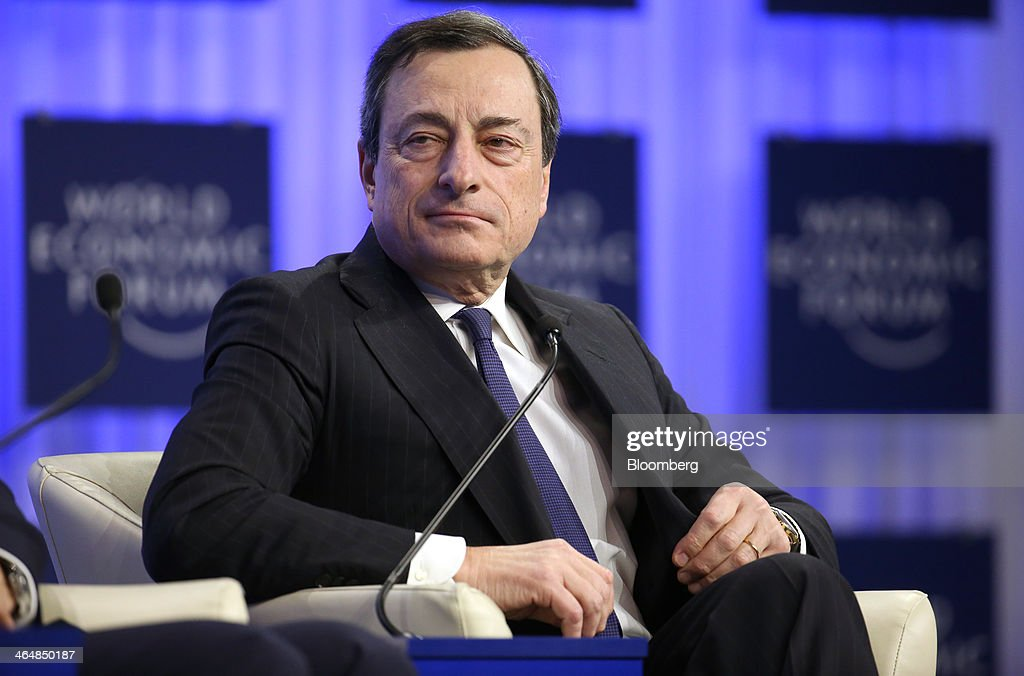 Mario Draghi, president of the European Central Bank (ECB), pauses during a session on day three of the World Economic Forum (WEF) in Davos, Switzerland, on Friday, Jan. 24, 2014. World leaders, influential executives, bankers and policy makers attend the 44th annual meeting of the World Economic Forum in Davos, the five day event runs from Jan. 22-25. Photographer: Chris Ratcliffe/Bloomberg via Getty Images