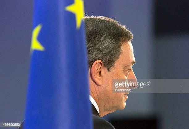 Mario Draghi president of the European Central Bank pauses whilst speaking during the inauguration ceremony for the new European Central Bank...