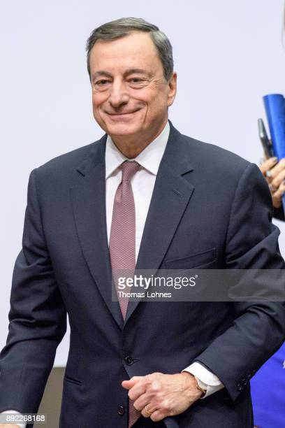 Mario Draghi President of the European Central Bank pictured after the press conference following a meeting of the ECB Governing Council on December...