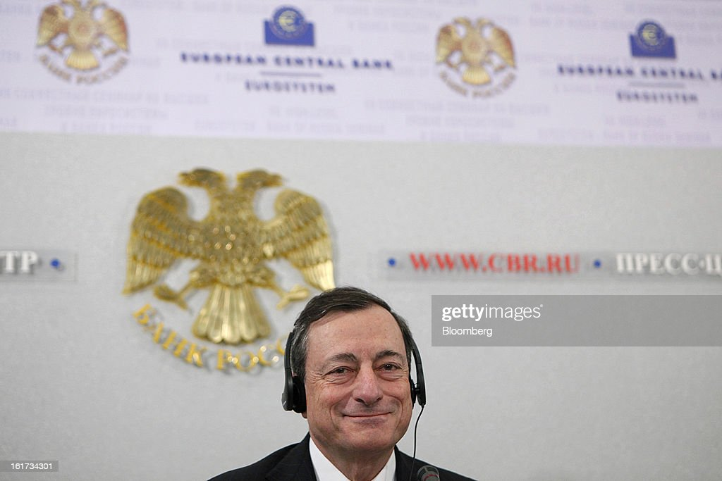 Mario Draghi, president of the European Central Bank (ECB), reacts during a news conference in Moscow, Russia, on Friday, Feb. 15, 2013. Draghi said while the ECB doesn't target the exchange rate, it plays an important role in assessing the economic outlook. Photographer: Alexander Zemlianichenko Jr./Bloomberg via Getty Images