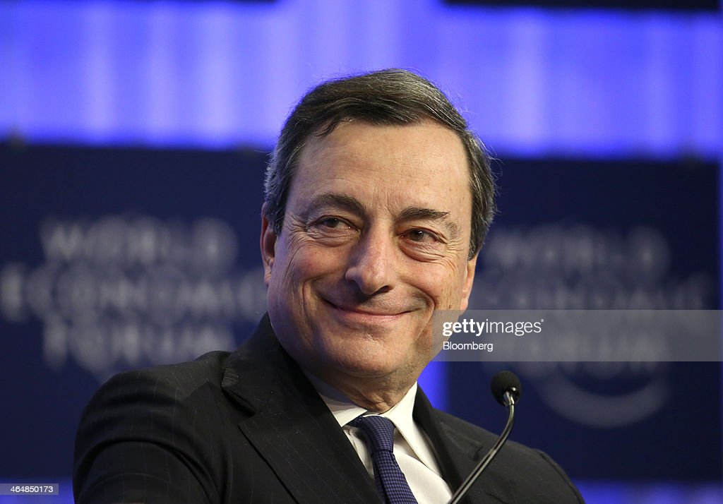 Mario Draghi, president of the European Central Bank (ECB), reacts during a session on day three of the World Economic Forum (WEF) in Davos, Switzerland, on Friday, Jan. 24, 2014. World leaders, influential executives, bankers and policy makers attend the 44th annual meeting of the World Economic Forum in Davos, the five day event runs from Jan. 22-25. Photographer: Chris Ratcliffe/Bloomberg via Getty Images