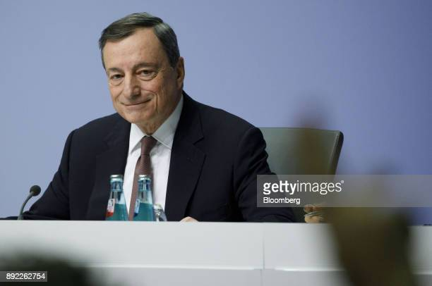 Mario Draghi president of the European Central Bank reacts during a news conference following the bank's interest rate decision at the ECB...