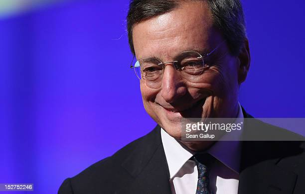 Mario Draghi president of the European Central Bank speaks at a conference of the German Federation of Industry on September 25 2012 in Berlin...