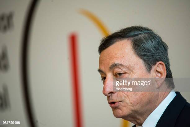 Mario Draghi president of the European Central Bank speaks at the 'ECB and its Watchers' conference in Frankfurt Germany on Wednesday March 14 2018...