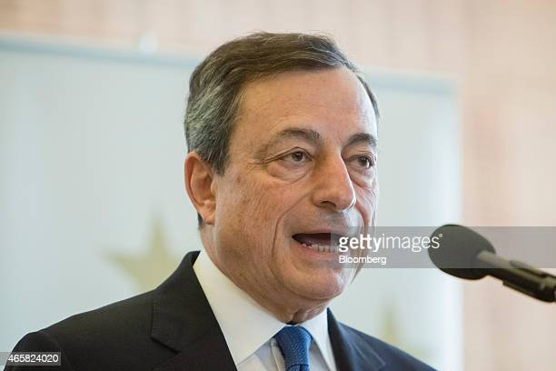 Mario Draghi president of the European Central Bank speaks at the European Central Bank and its watchers conference in Frankfurt Germany on Wednesday...