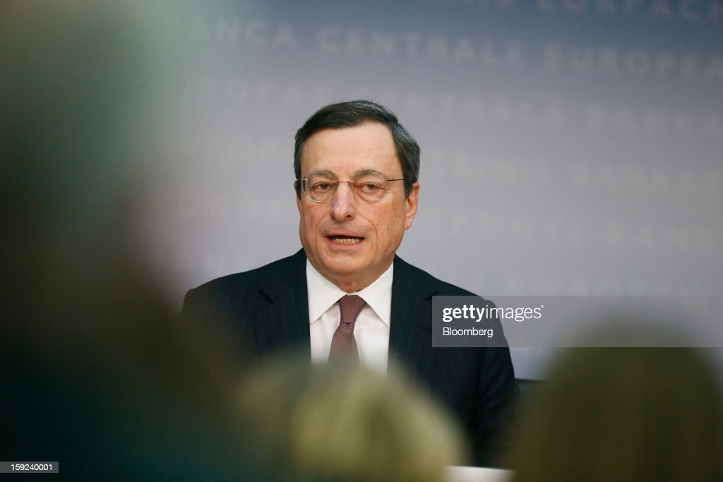 Mario Draghi, president of the European Central Bank (ECB), speaks during a news conference at the bank's headquarters in Frankfurt, Germany, on Thursday, Jan. 10, 2013. Draghi said the euro-area economy will slowly recover this year as the region's bond markets stabilize after three years of turmoil. Photographer: Ralph Orlowski/Bloomberg via Getty Images