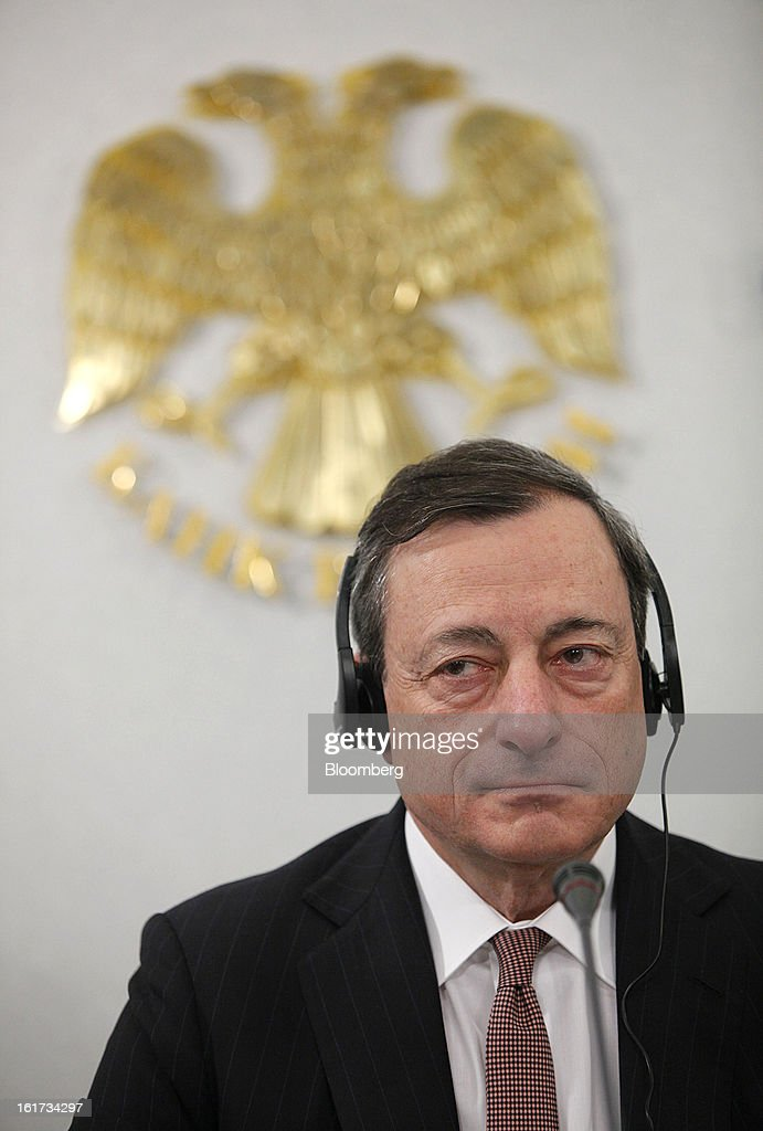 Mario Draghi, president of the European Central Bank (ECB), speaks during a news conference in Moscow, Russia, on Friday, Feb. 15, 2013. Draghi said while the ECB doesn't target the exchange rate, it plays an important role in assessing the economic outlook. Photographer: Alexander Zemlianichenko Jr./Bloomberg via Getty Images