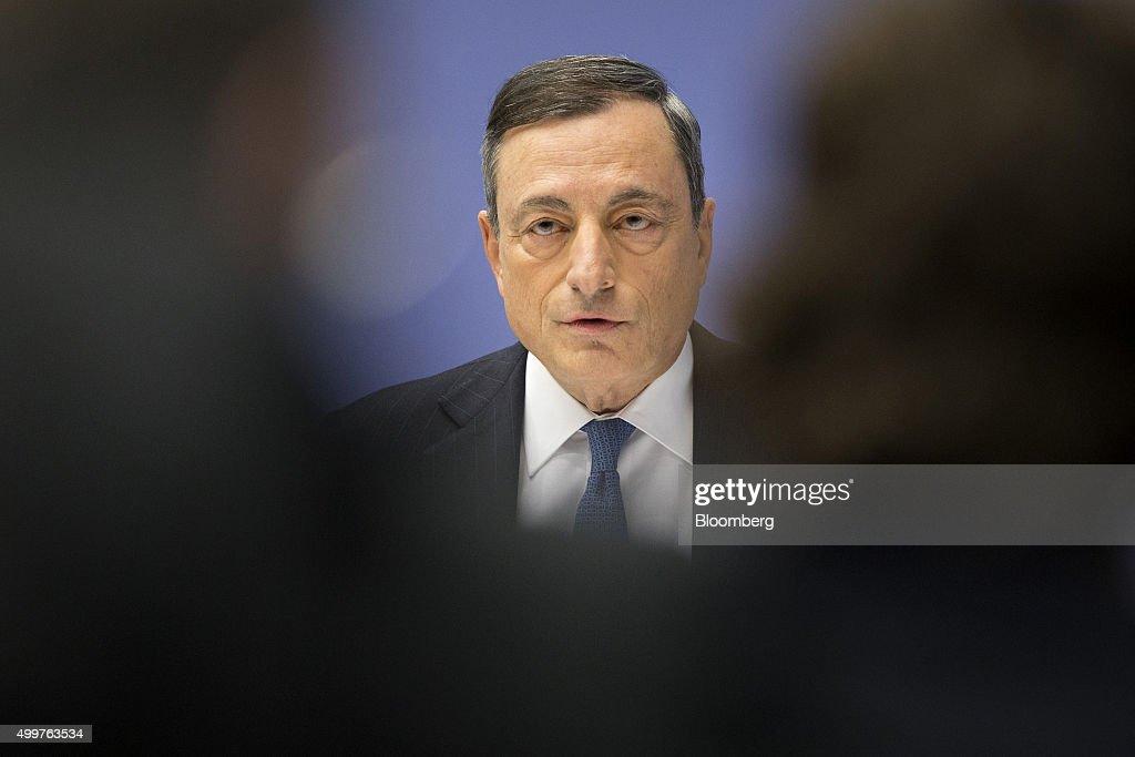 European Central Bank President Mario Draghi Announces Interest Rate Decision : News Photo