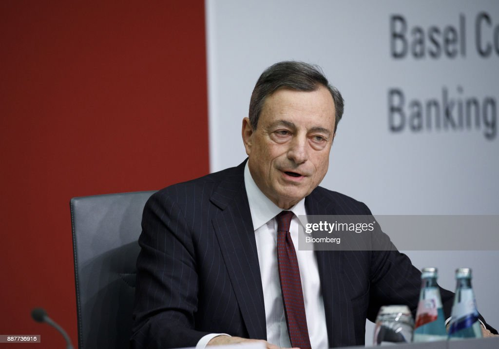Mario Draghi, president of the European Central Bank (ECB), speaks during a Basel III capital rules news conference at the ECB headquarters in Frankfurt, Germany, on Thursday, Dec. 7, 2017. Big European mortgage lenders in low-risk markets may be the hardest hit by new capital rules that global regulators are expected to complete this week after a year-long deadlock. Photographer: Alex Kraus/Bloomberg via Getty Images
