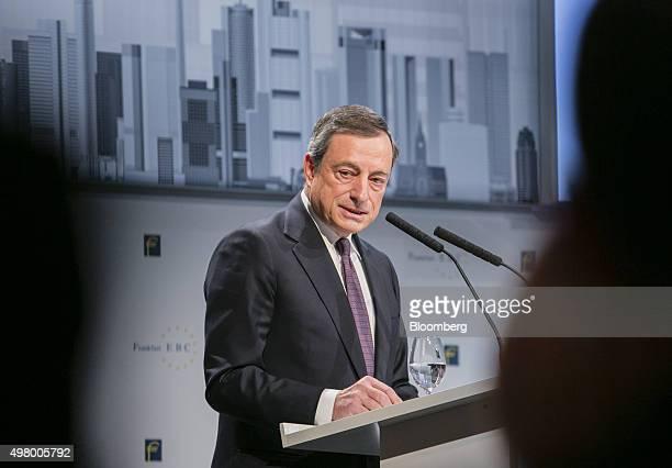 Mario Draghi president of the European Central Bank speaks during Euro Finance Week in Frankfurt Germany on Friday Nov 20 2015 Draghi set the scene...