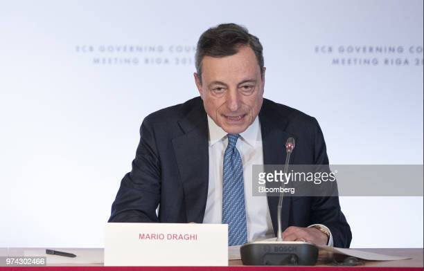 Mario Draghi president of the European Central Bank speaks during the ECB rate decision news conference at the Latvian central bank also known as...