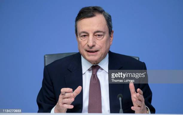 Mario Draghi President of the European Central Bank speaks to the media following a meeting of the ECB Governing Council at ECB headquarters of March...