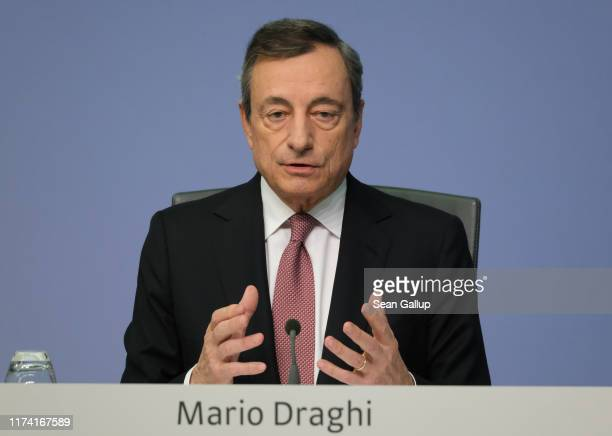 Mario Draghi President of the European Central Bank speaks to the media following a meeting of the ECB governing board on September 12 2019 in...