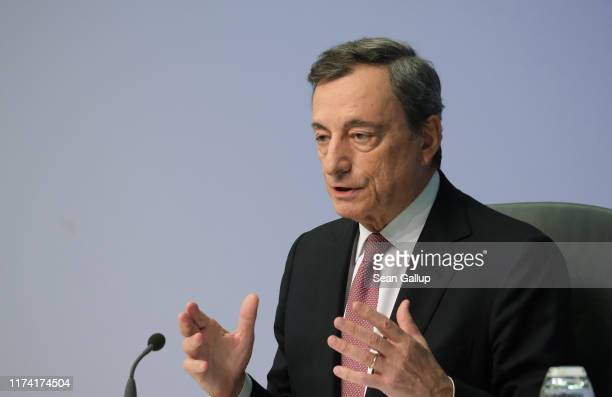 Mario Draghi, President of the European Central Bank, speaks to the media following a meeting of the ECB governing board on September 12, 2019 in...