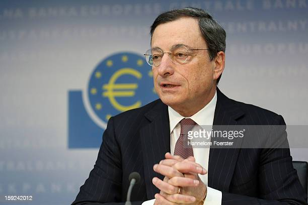 Mario Draghi President of the European Central Bank speaks to the media following a meeting of ECB leadership at the European Central Bank on January...