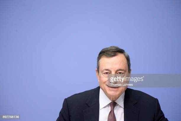 Mario Draghi President of the European Central Bank speaks to the media following a meeting of the ECB Governing Council on December 14 2017 in...