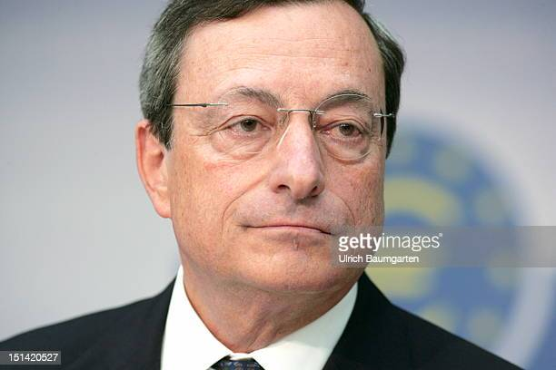 Mario Draghi President of the European Central Bank speaks to the media at ECB headquarters on September 6 2012 in Frankfurt Germany Draghi is under...