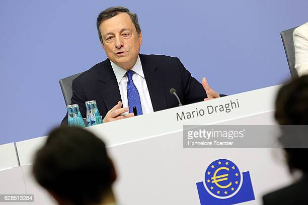 Mario Draghi president of the European Central Bank speaks to the media at the ECB on December 8 2016 in Frankfurt Germany The ECB today announced...