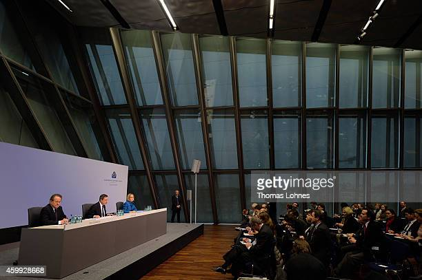 Mario Draghi President of the European Central Bank vice president Vitor Constancio and Christine Graeff hold the first press conference following...