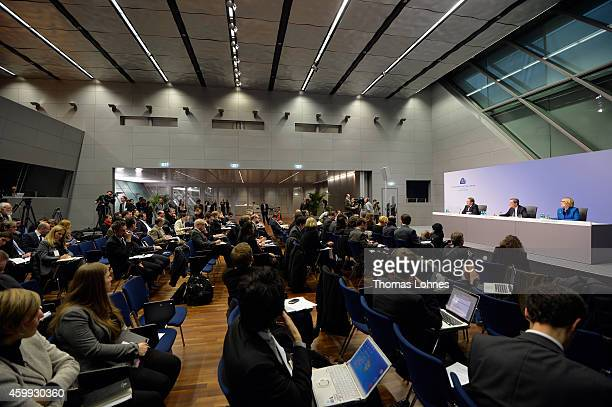 Mario Draghi President of the European Central Bank vicepresident Vitor Constancio and Christine Graeff hold the first press conference following the...