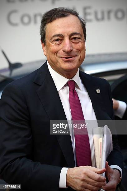 Mario Draghi the President of the European Central Bank arrives at the headquarters of the Council of the European Union on the second day of a...