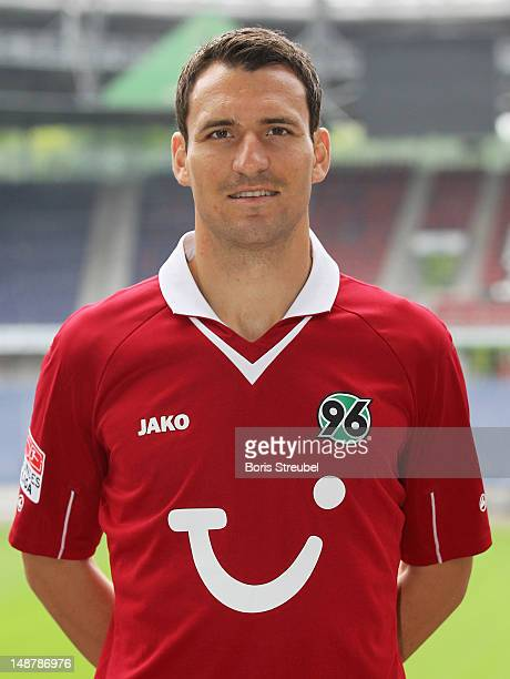 Mario Eggimann of Hannover 96 poses during the Bundesliga team presentation of Hannover 96 at AWD Arena on July 19 2012 in Hannover Germany
