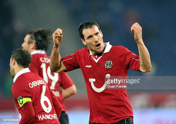 Mario Eggimann of Hannover celebrates scoring the second goal during the Bundesliga match between Hannover 96 and SpVgg Greuther Fuerth at AWD Arena...