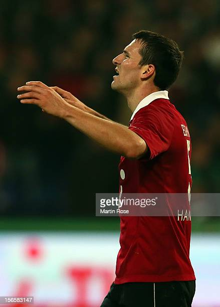 Mario Eggimann of Hannover looks dejected after the Bundesliga match between Hannover 96 and SC Freiburg at AWD Arena on November 17, 2012 in...