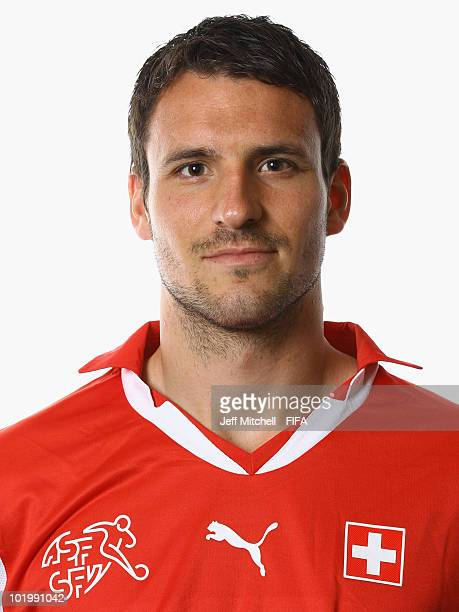Mario Eggimann of Switzerland poses during the official Fifa World Cup 2010 portrait session on June 11 2010 in Johannesburg South Africa