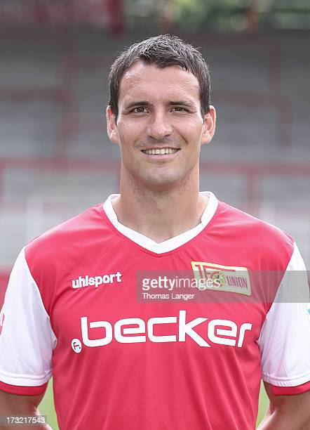 Mario Eggimann poses during the 1 FC Union Berlin team presentation at Alte Foersterei on July 1 2013 in Berlin Germany