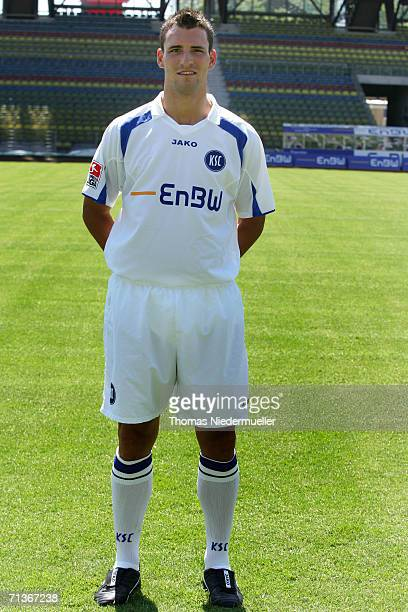 Mario Eggimann poses during the Bundesliga 2nd Team Presentation of Karlsruher SC at the Wildpark Stadium on July 3 2006 in Karlsruhe Germany