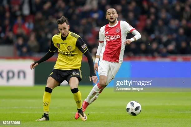 Mario Engels of Roda JC Hakim Ziyech of Ajax during the Dutch Eredivisie match between Ajax v Roda JC at the Johan Cruijff Arena on November 26 2017...