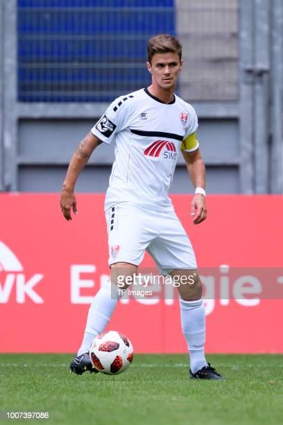Mario Erb of KFC Uerdingen controls the ball during the 3 Liga match between KFC Uerdingen 05 and SpVgg Unterhaching at GrotenburgStadion on July 29...