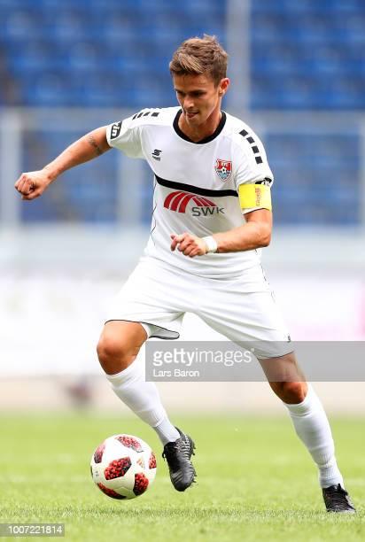 Mario Erb of Uerdingen runs with the ball during the 3 Liga match between KFC Uerdingen 05 and SpVgg Unterhaching at schauinslandreisenarena on July...