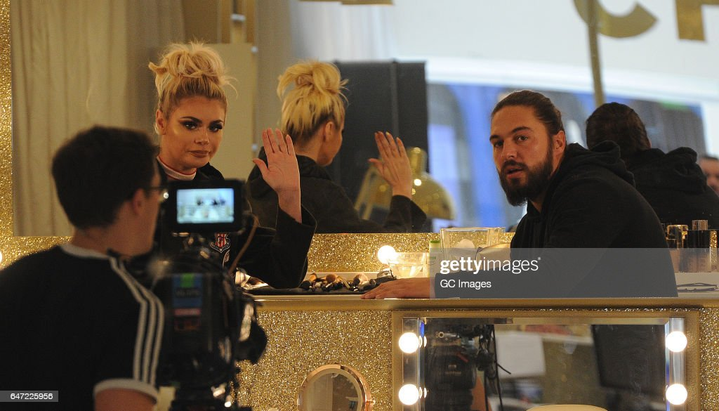 Mario Falcone and Chloe Sims seen filming TOWIE in Brentwood on March 2, 2017 in London, England.
