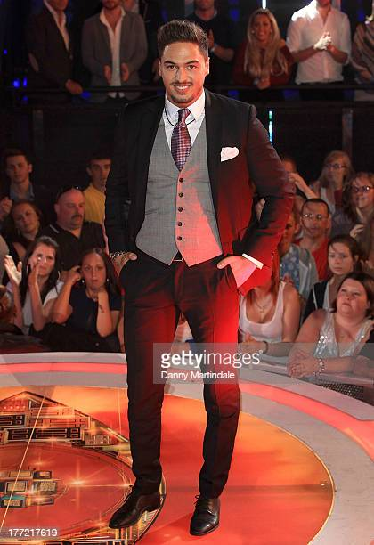 Mario Falcone of TOWIE enters the Celebrity Big Brother House at Elstree Studios on August 22 2013 in Borehamwood England