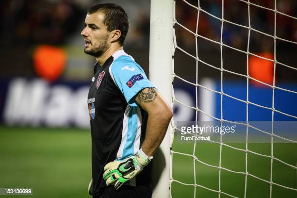 Mario Felgueiras of CFR 1907 Cluj in action during the UEFA Champions League group stage match between CFR 1907 Cluj and Manchester United FC on...