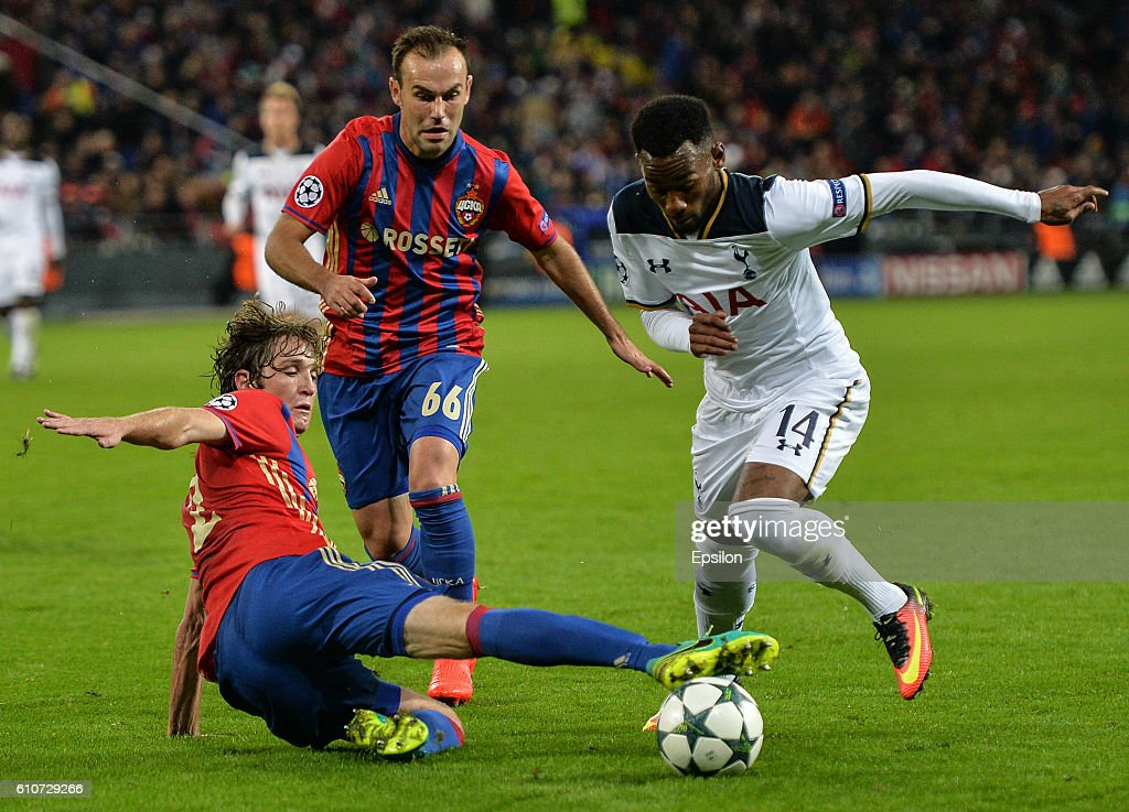 Mario Fernandes and Bibras Natcho (C) of CSKA Moscow vies for the ball with Georges-Kvin N'Koudou of Tottenham Hotspur FC during the UEFA Champions League match between PFC CSKA Moskva and Tottenham Hotspur FC at the CSKA Arena stadium on September 27, 2016 in Moscow.