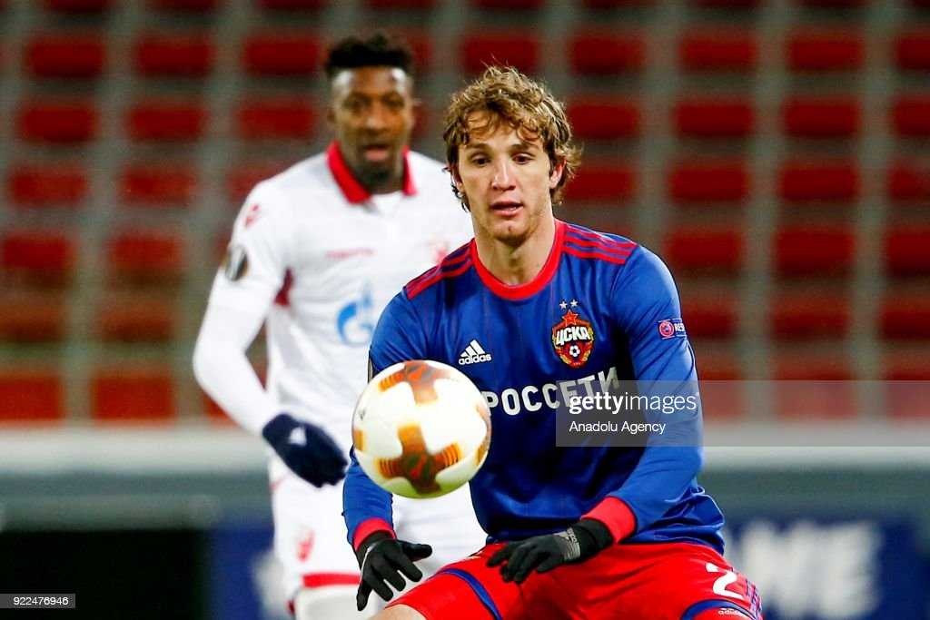 Mario Fernandes (front) of CSKA Moscow in action during the UEFA Europa League round of 32, second leg soccer match between CSKA Moscow and Crvena Zvezda at the Stadium CSKA Moscow in Moscow, Russia on February 21, 2018.