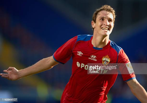 Mario Fernandes of PFC CSKA Moscow celebrates his goal during the Russian Football League match between PFC CSKA Moscow and FC Akhmat Grozny at Arena...