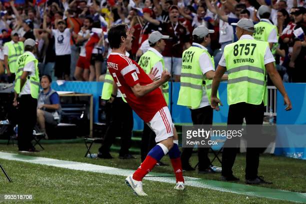 Mario Fernandes of Russia celebrates after scoring his team's second goal during the 2018 FIFA World Cup Russia Quarter Final match between Russia...