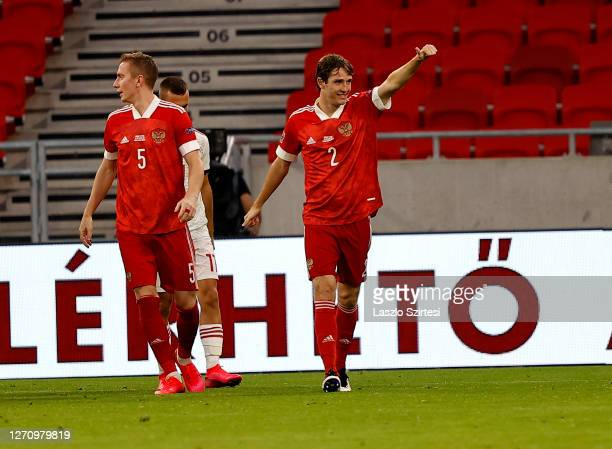 Mario Fernandes of Russia celebrates his goal next to Andrei Semenov of Russia during the UEFA Nations League group stage match between Hungary and...