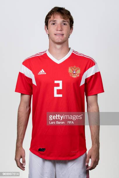Mario Fernandes of Russia poses for a portrait during the official FIFA World Cup 2018 portrait session at Federal Sports Centre Novogorsk on June 8...