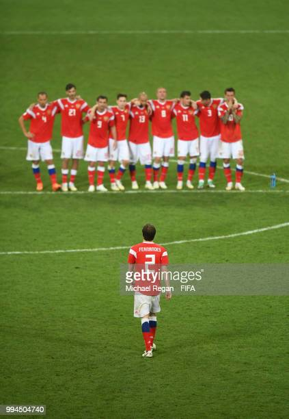 Mario Fernandes of Russia reacts after missing his team's third penalty in the penalty shoot out during the 2018 FIFA World Cup Russia Quarter Final...