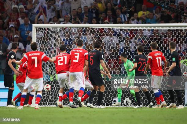 Mario Fernandes of Russia scores a goal to make it 22 in extra time during the 2018 FIFA World Cup Russia Quarter Final match between Russia and...