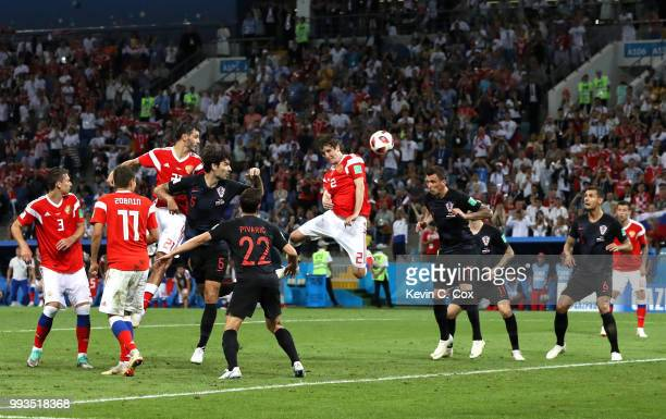 Mario Fernandes of Russia scores his team's second goal during the 2018 FIFA World Cup Russia Quarter Final match between Russia and Croatia at Fisht...
