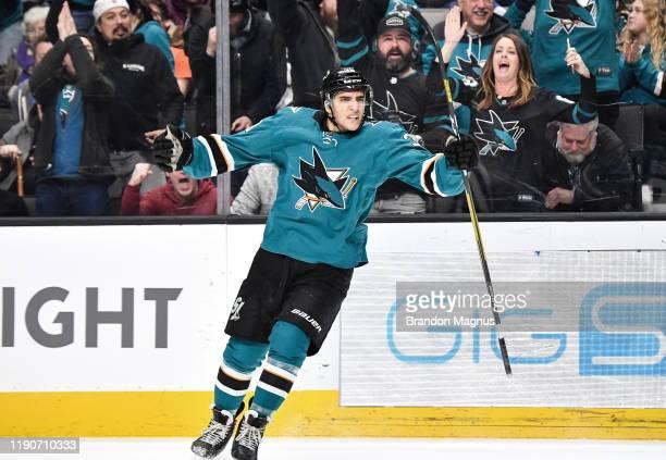 Mario Ferraro of the San Jose Sharks celebrates his first NHL goal against the Philadelphia Flyers at SAP Center on December 28, 2019 in San Jose,...