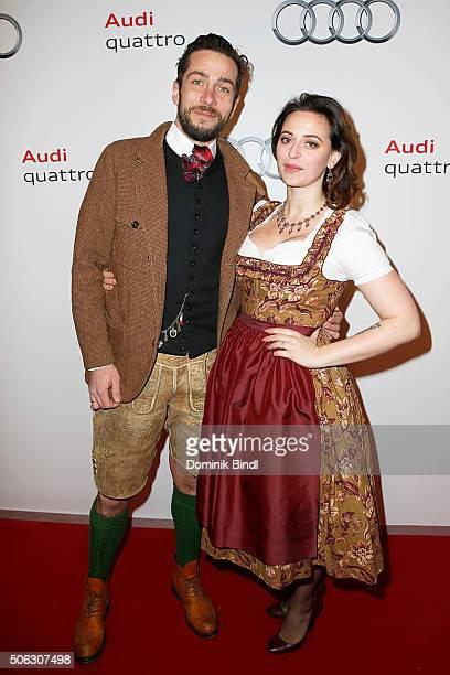 Mario Frajuk and Lena Hoschek attend the Audi Night 2016 at Hotel zur Tenne on January 22 2016 in Kitzbuehel Austria