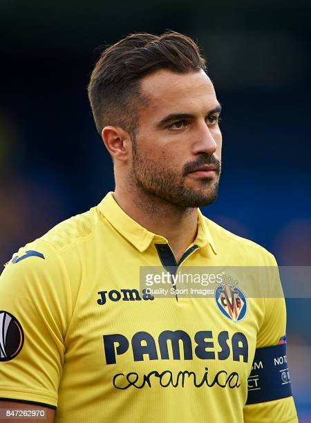 Mario Gaspar of Villarreal looks on prior the UEFA Europa League group A match between Villarreal CF and FK Astana at Estadio de la Ceramica on...