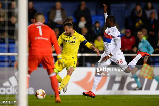 Mario Gaspar Tanguy Ndombele during the match between Villarreal CF against Olympique of Lyon Round of 32 2nd leg of UEFA Europa League at Ceramica...